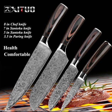 XITUO stainless steel kitchen knives Japanese Damascus Pattern chef knife sets Cleaver Paring Santoku Slicing utility tool