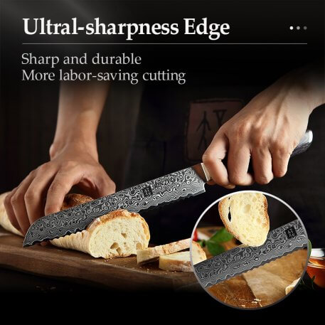 """XINZUO 8"""" inch Bread Knife 67 layers Damascus Stainless Steel Kitchen Knife High Quality VG10 Cake Knife With Pakka Wood Handle"""
