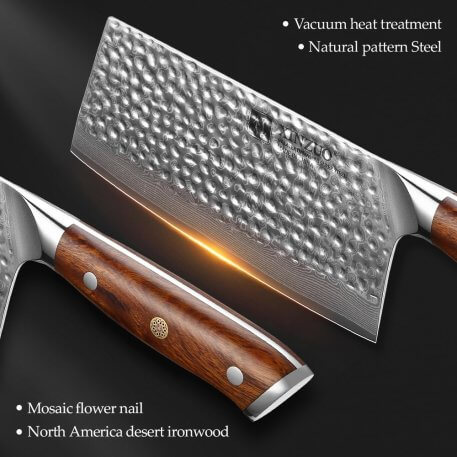 XINZUO 7'' in Cleaver Slicing Knife Japanese Steel Master Chef Kitchen Tool Damascus Stainless Steel Cleaver Knives
