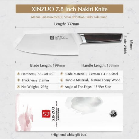 XINZUO 7.8 inch Slicing Knife Kitchen Chef Knives Stainless Steel Forged Meat Cleaver Nakirir Chopping Knife with Ebony Handle