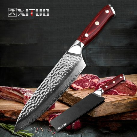 XITUO 7.5 In Damascus Chef Knife Handmade Forged 67 Layer Damascus Steel Blade Kitchen Cleaver Sashimi Knife with Black Gift Box