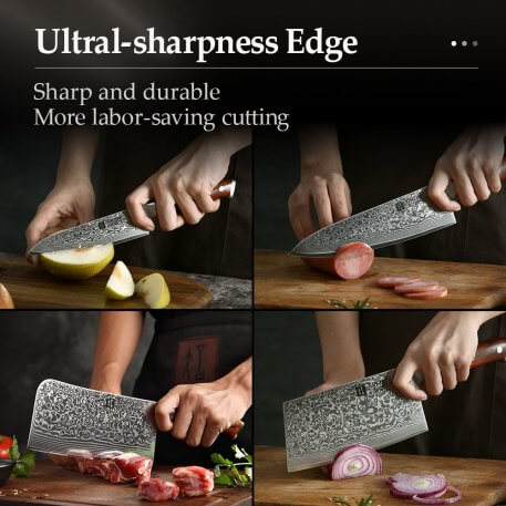 XINZUO 5PCS Kitchen Chef Knife Sets VG10 Damascus Steel Chef Chopper Bone Utility Cleaver Knives Stainless Steel Rosewood Handle