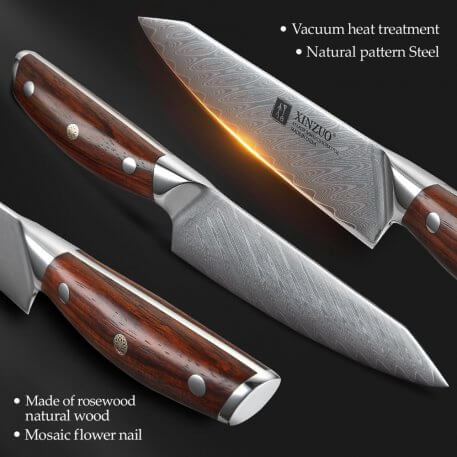 """XINZUO 5"""" inch Utility Knife Japanese VG10 Damascus Steel 62 HRC Kitchen Knife Multi Function Chef Steel Kitchen Fruit Knives"""