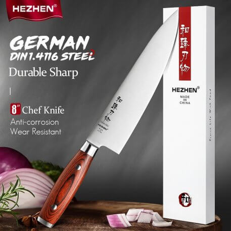 HEZHEN 8 Inches Chef Knife Japanese Kitchen Tool Stainless Steel German DIN1.4116 Steel Beautiful gift box Pakka Wood Handle