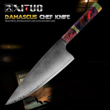XITUO Chef Knife 67 Layer Japanese Damascus Steel 8 Inch Sharp Cleaver Slaughter Knives Kitchen Cooking Tool Solid Wood Handle