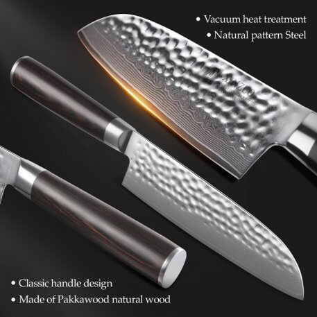 XINZUO 6 PCS Knife Set Kitchen Cutlery Japanese VG10 Damascus Forged Bread Santoku Chef Paring Utilities Knives with Gift Box
