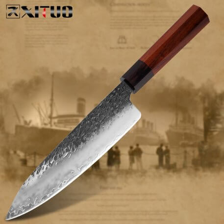 XITUO Chef Knife Three-Layer Composite Steel Handmade Forged Sharp Cleaver Boning Santoku Kitchen Cooking Tools Octagonal Handle