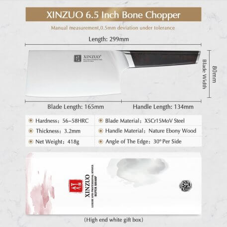 XINZUO 6.5'' Bone Chopper Knife X5Cr15Mov High Crabon Stainless Steel Kitchen Big Knives Cleaver Meat Vegetables Ebony Handle