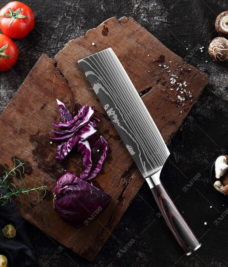XITUO high quality chef knife 7CR17 High Carbon Stainless Steel Japanese Series Damascus laser pattern Chef's 8-in kitchen knife