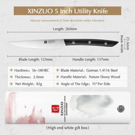 """XINZUO 5"""" inches Utility Knife German 1.4116 Steel Stainless Steel Kitchen Knives Tools Table Knife with Ebony Handle"""