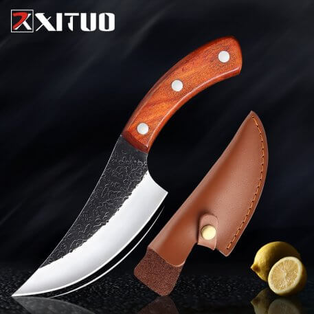 XITUO Handmade Forged 5 inch High Carbon Stainless Steel Chef Knife Meat Cleaver Kitchen Knife Rosewood Handle Cooking Tool